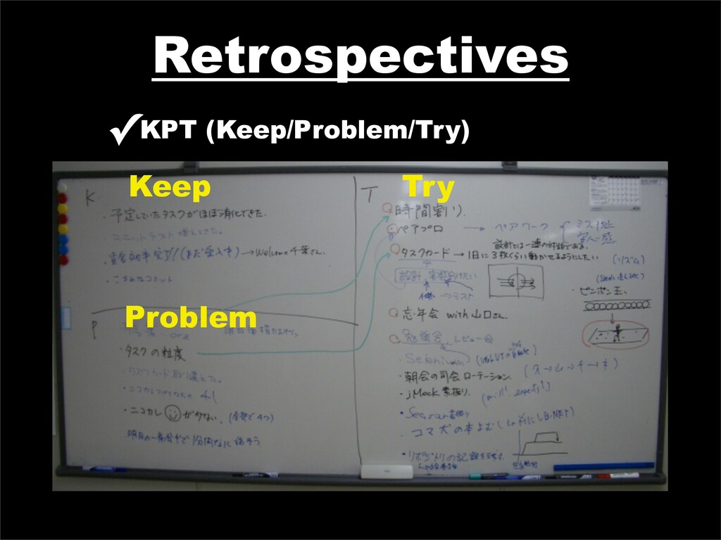 Retrospectives ✓KPT (Keep/Problem/Try) Keep Pro...