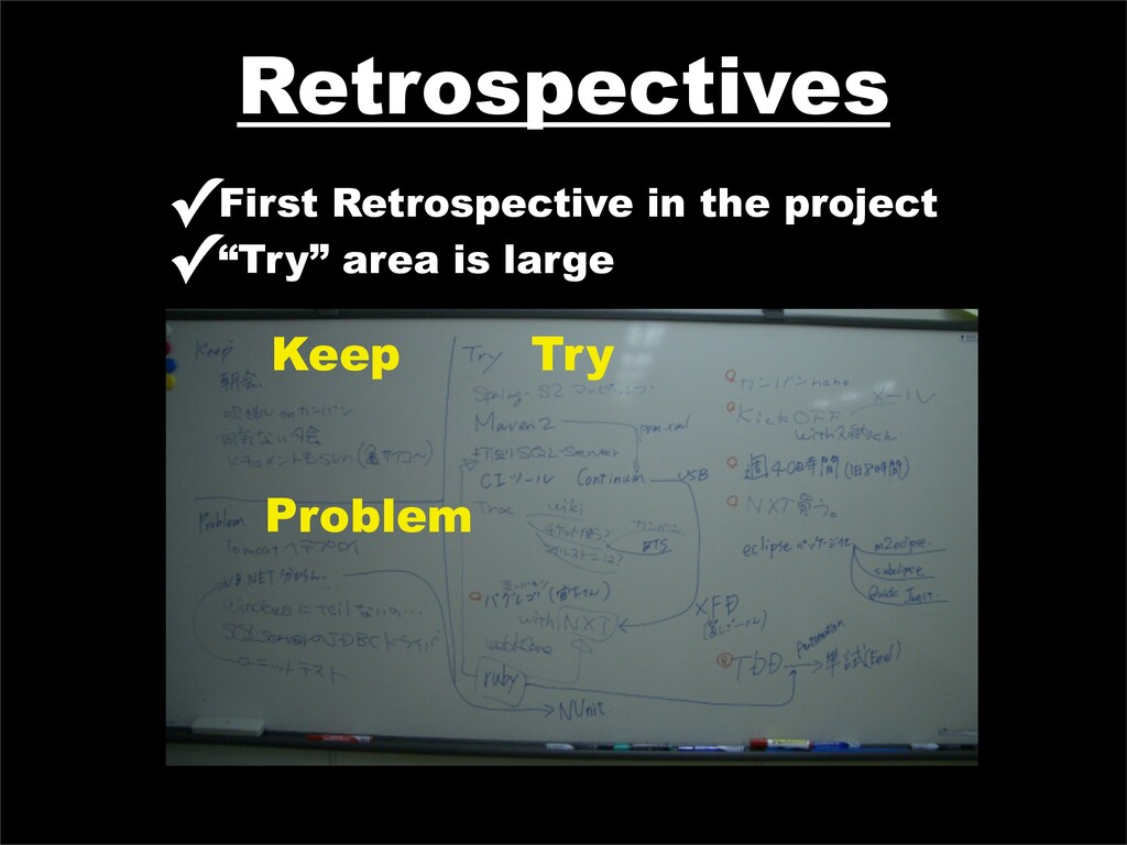 Retrospectives ✓First Retrospective in the proj...
