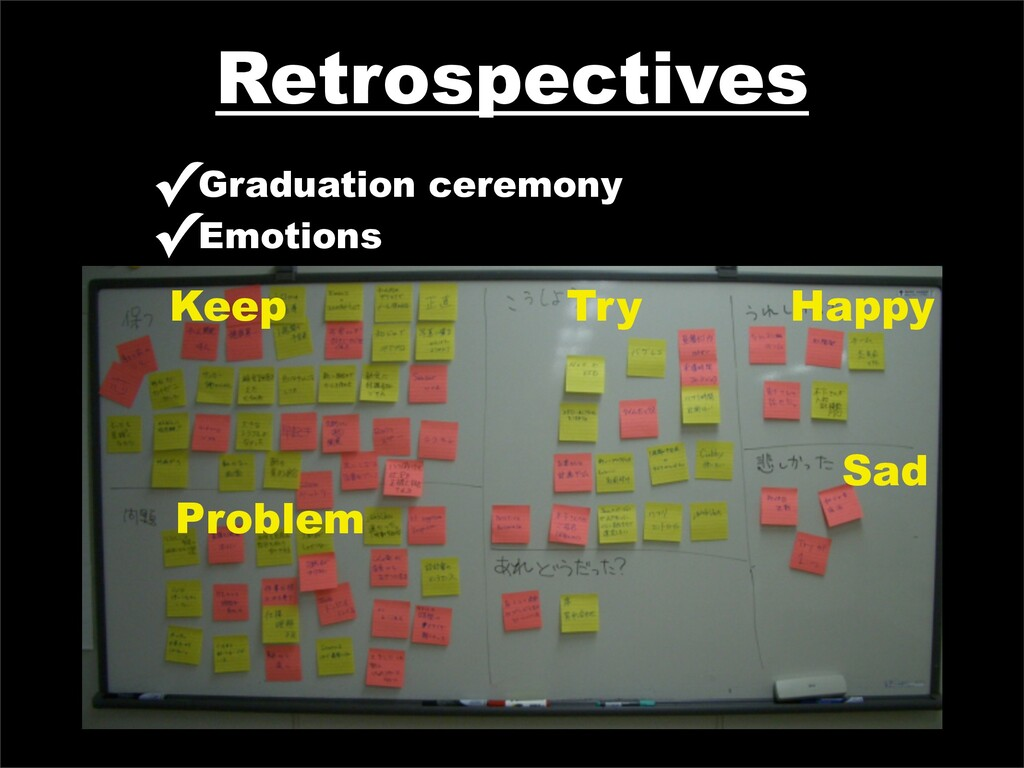 Retrospectives ✓Graduation ceremony ✓Emotions K...