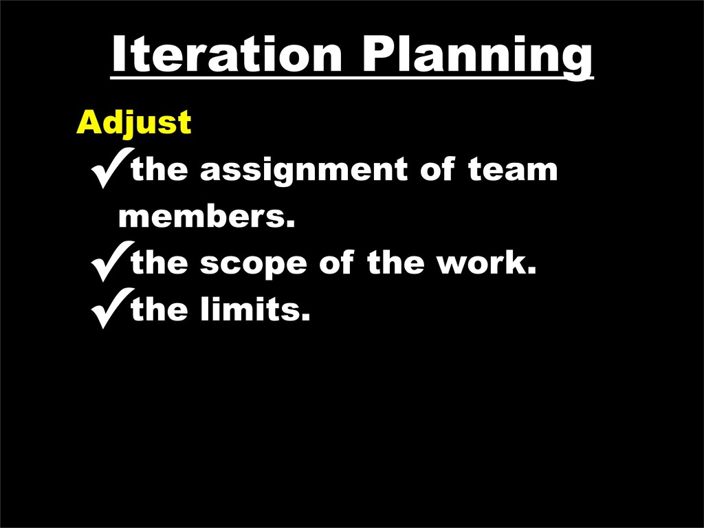 Iteration Planning Adjust ✓the assignment of te...