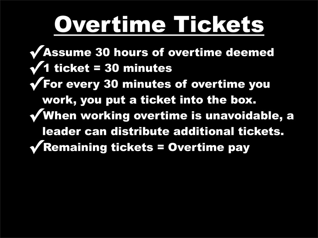 Overtime Tickets ✓Assume 30 hours of overtime d...