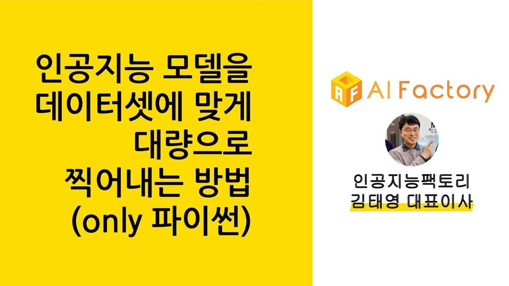 인공지능팩토리 김태영 대표이사 인공지능 모델을 데이터셋에 맞게 대량으로 찍어내는 방법...