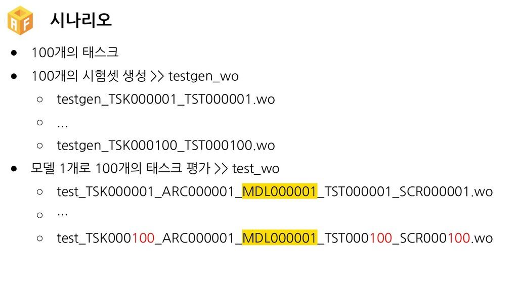 시나리오 ● 100개의 태스크 ● 100개의 시험셋 생성 >> testgen_wo ○...