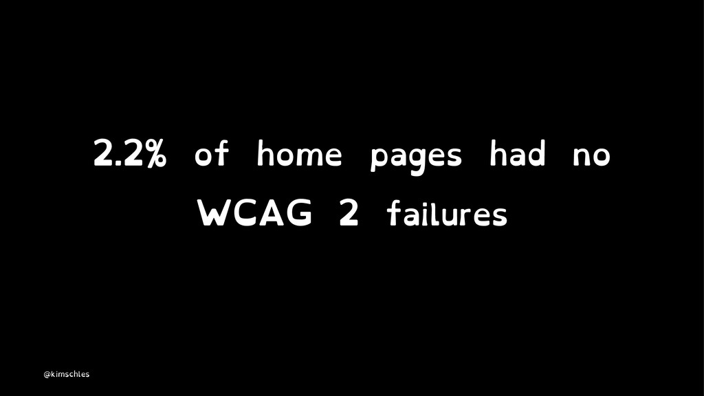 2.2% of home pages had no WCAG 2 failures @kims...
