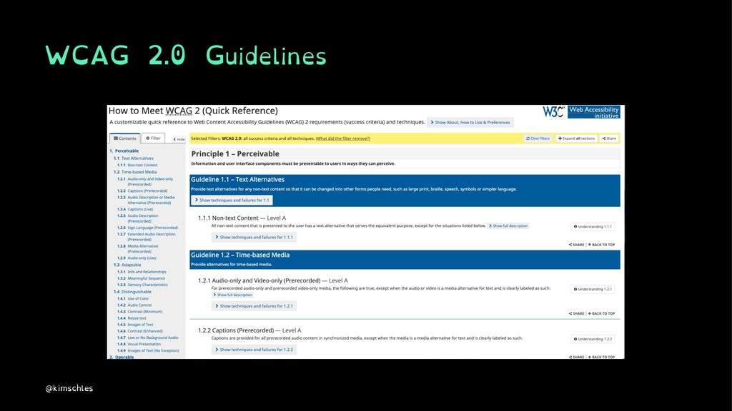 WCAG 2.0 Guidelines @kimschles