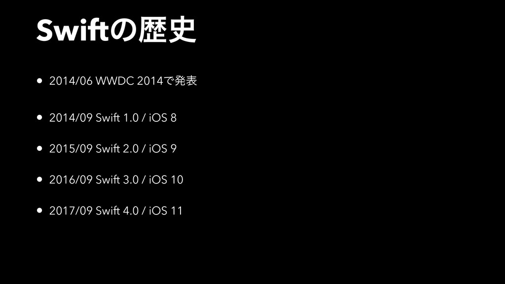 Swiftͷྺ • 2014/06 WWDC 2014Ͱൃද • 2014/09 Swift...