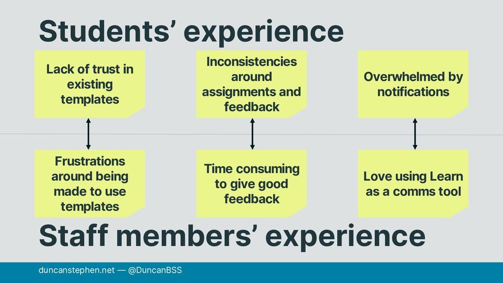 duncanstephen.net — @DuncanBSS Students' experi...
