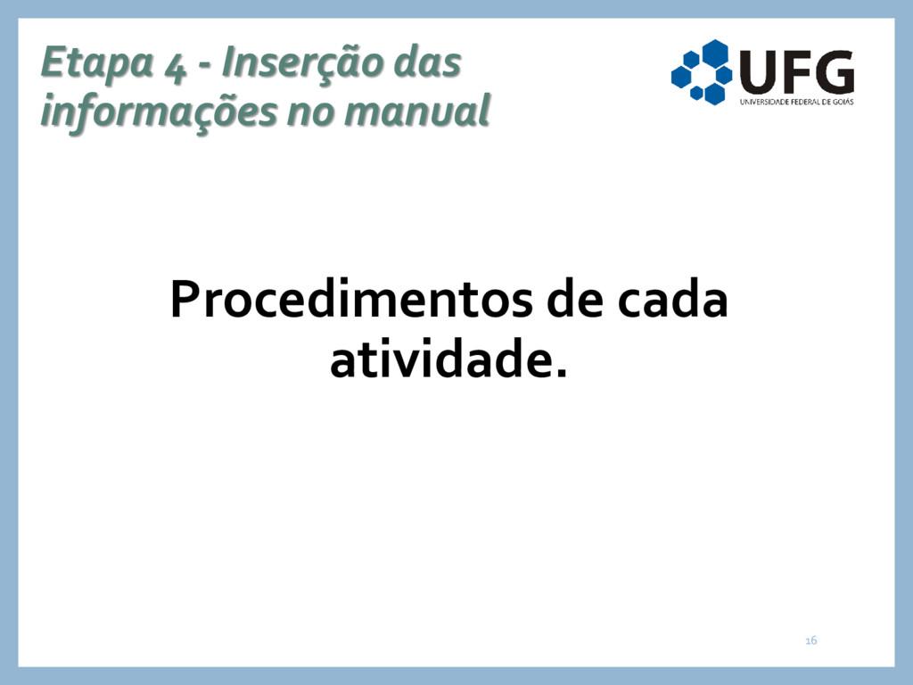 Etapa 4 - Inserção das informações no manual Pr...