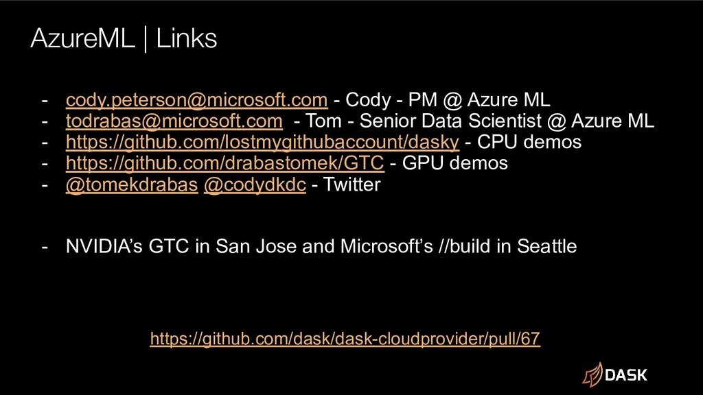 AzureML | Links https://github.com/dask/dask-cl...