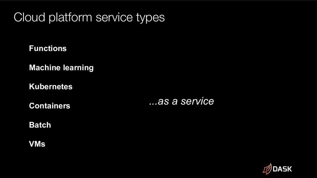 Cloud platform service types Functions Machine ...