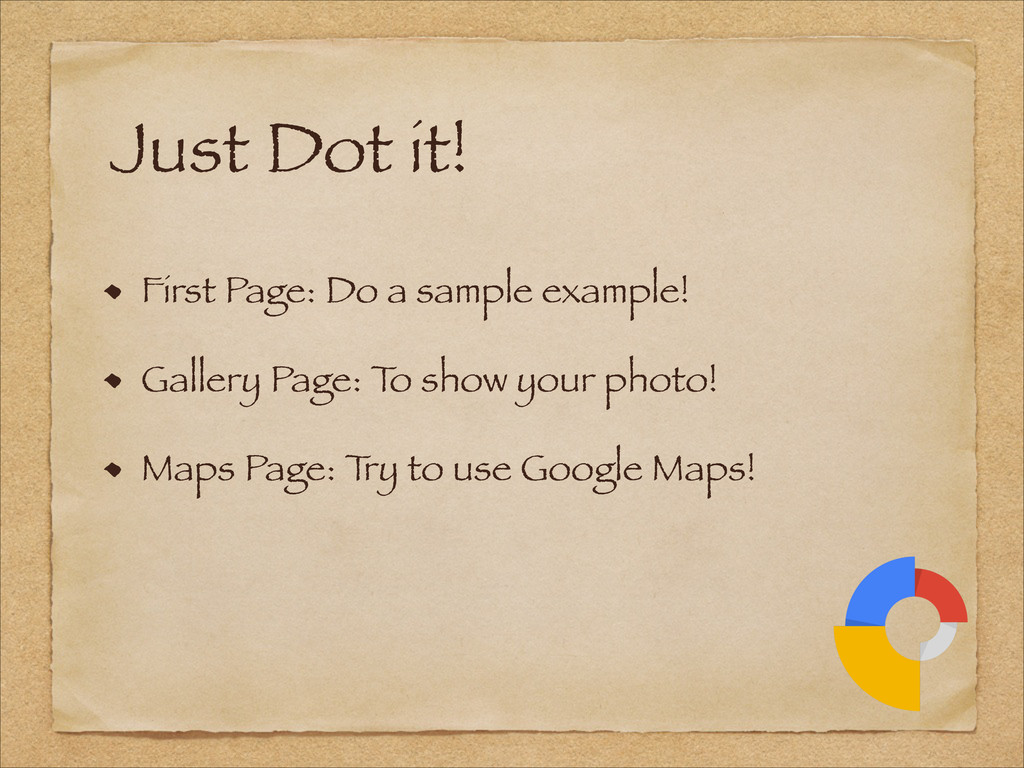 First Page: Do a sample example! Gallery Page: ...