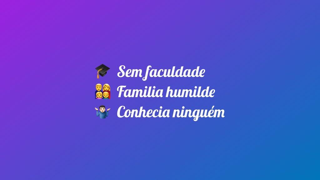 Sem faculdade  Familia humilde  Conhecia ningu...