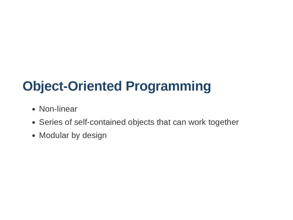 ObjectOriented Programming Nonlinear Series o...