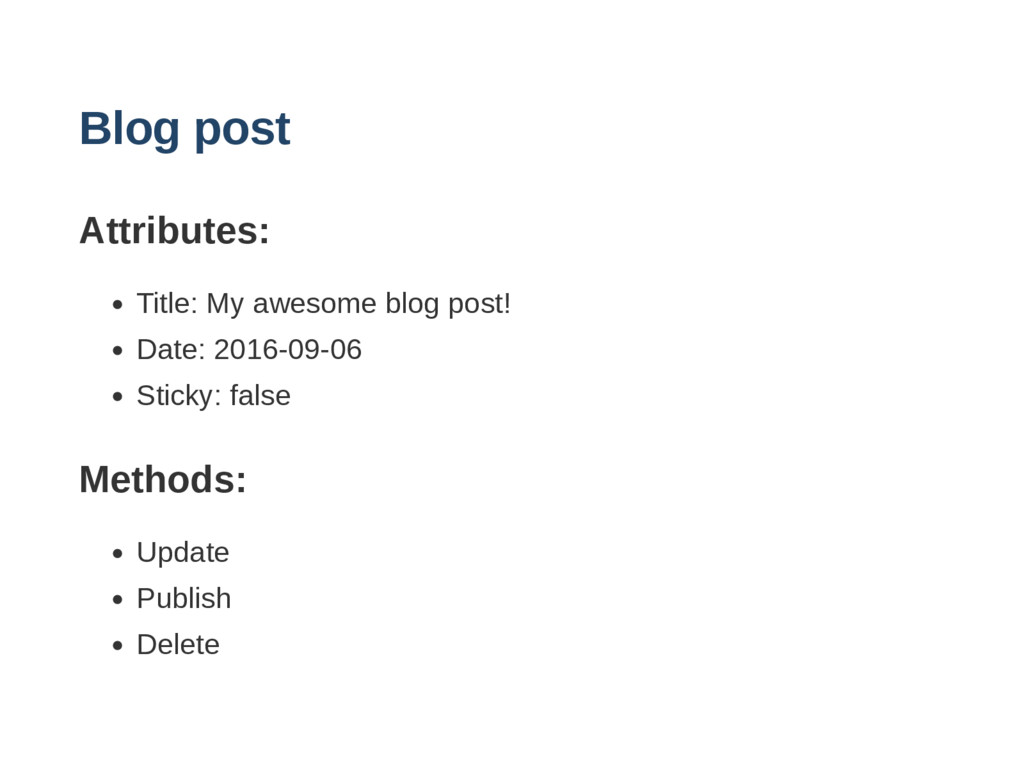 Blog post Attributes: Title: My awesome blog po...