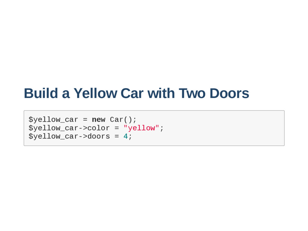 Build a Yellow Car with Two Doors $ y e l l o w...