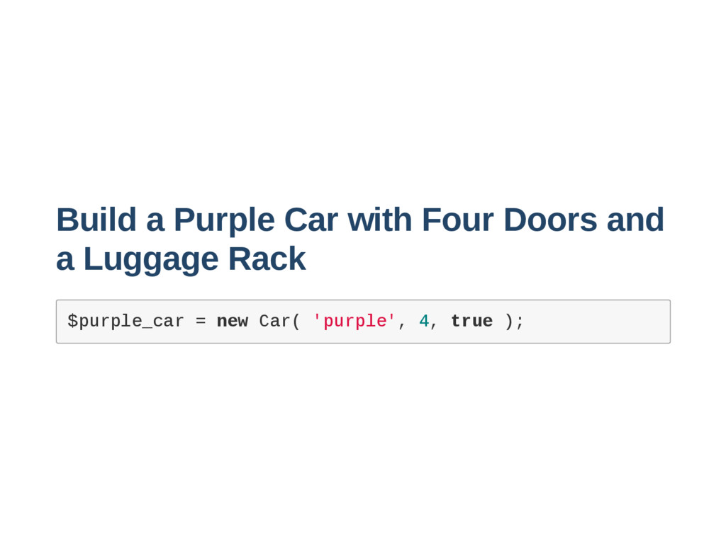 Build a Purple Car with Four Doors and a Luggag...