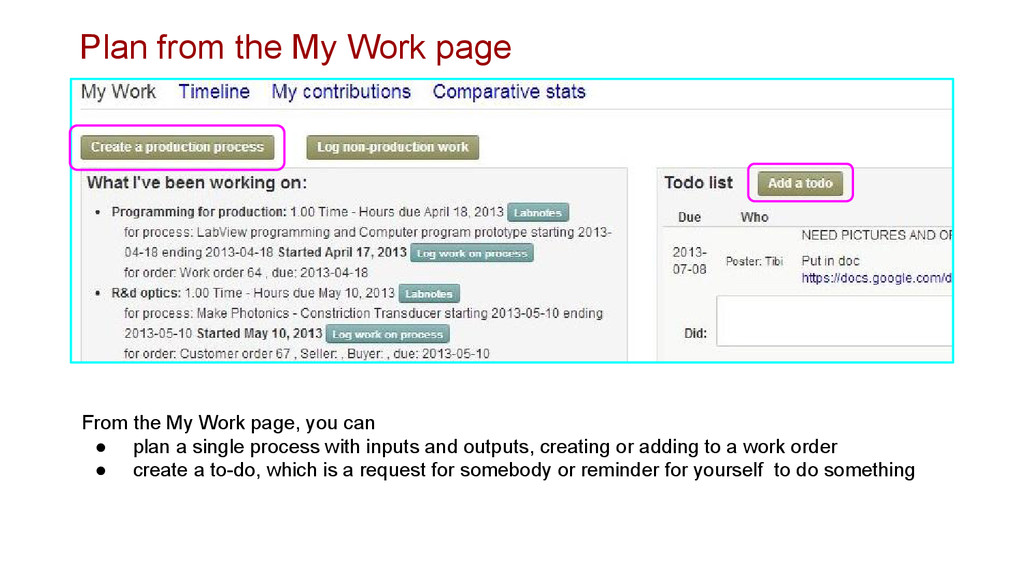 Plan from the My Work page From the My Work pag...
