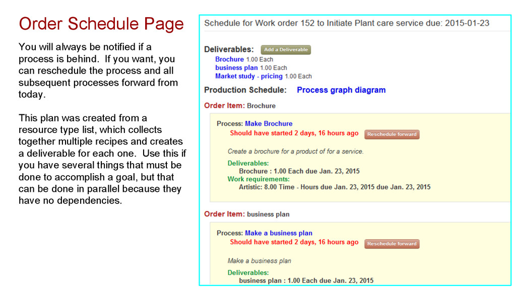 Order Schedule Page You will always be notified...