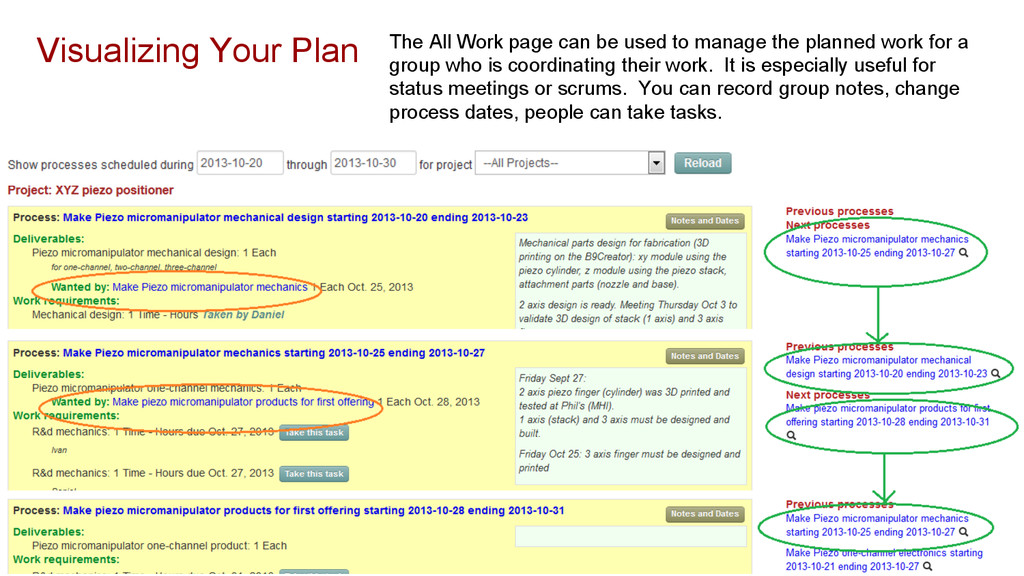 The All Work page can be used to manage the pla...