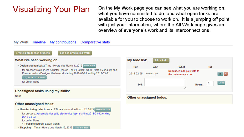 Visualizing Your Plan On the My Work page you c...