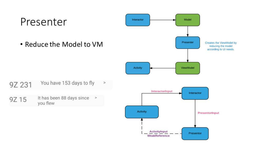Presenter • Reduce the Model to VM