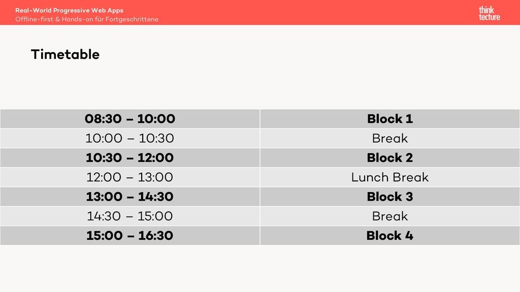 08:30 – 10:00 Block 1 10:00 – 10:30 Break 10:30...