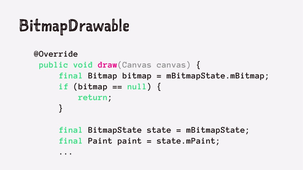 BitmapDrawable @Override public void draw(Canva...