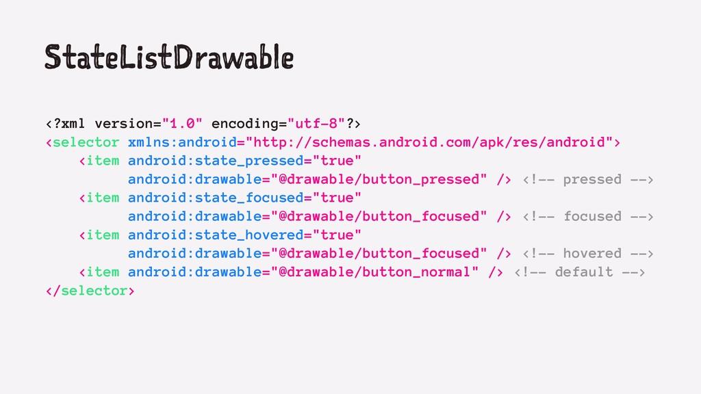 "StateListDrawable <?xml version=""1.0"" encoding=..."