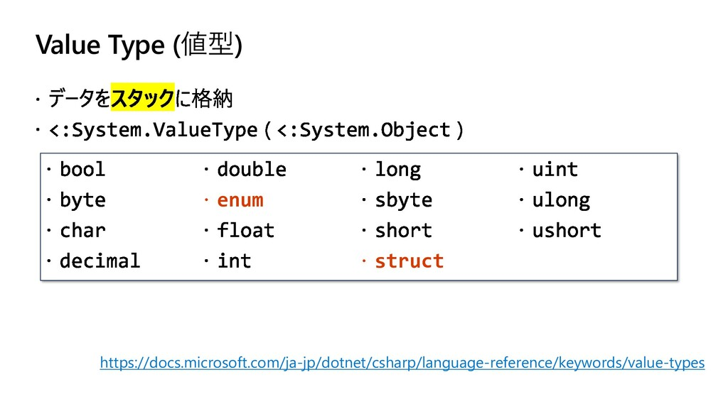 Value Type (値型)  enum  struct https://docs.mi...