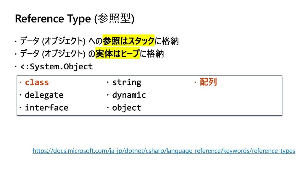 Reference Type (参照型)  class  配列 https://docs....