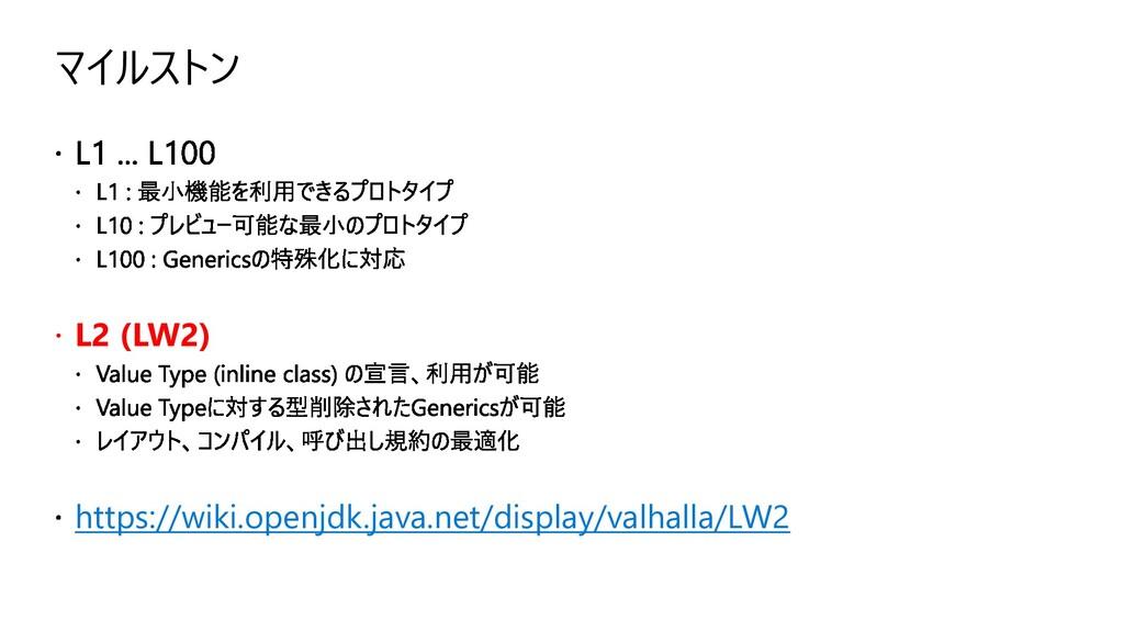 マイルストン  L2 (LW2) https://wiki.openjdk.java.net...