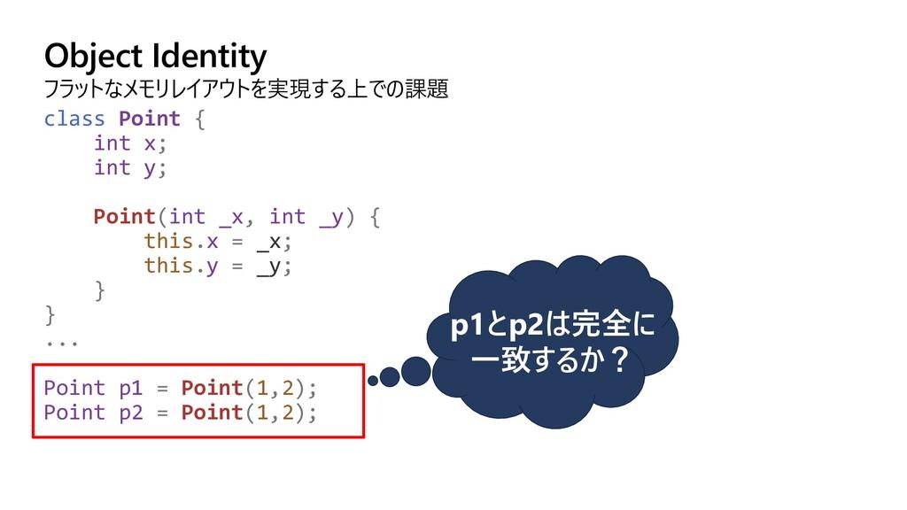 Object Identity フラットなメモリレイアウトを実現する上での課題 class P...
