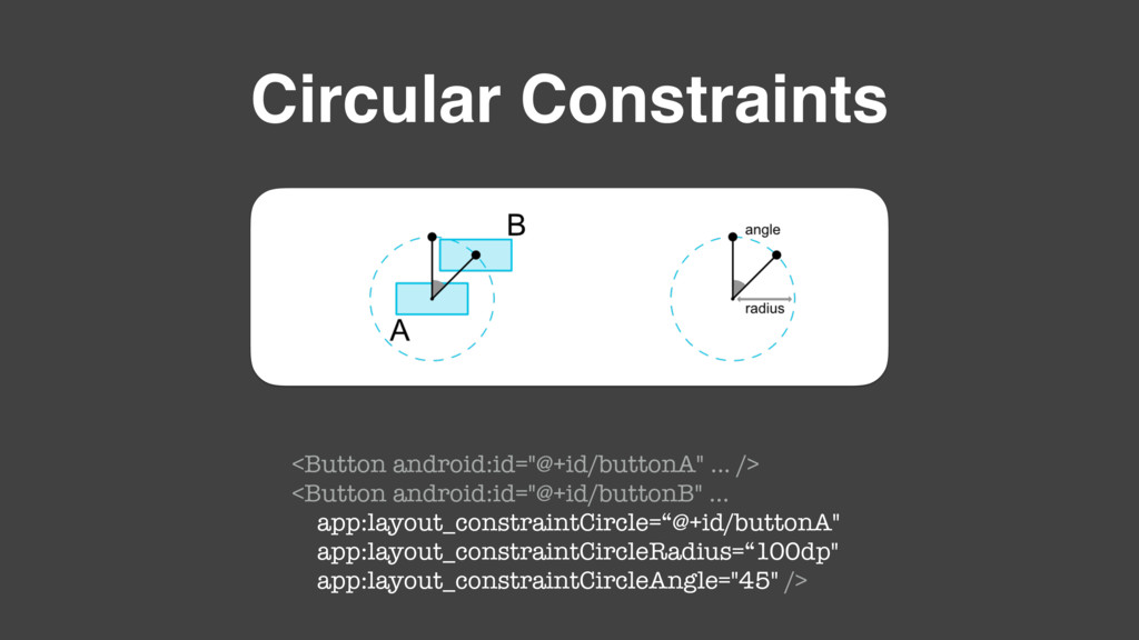 "Circular Constraints <Button android:id=""@+id/b..."