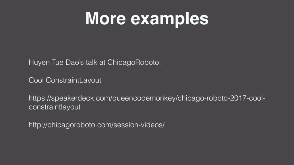More examples Huyen Tue Dao's talk at ChicagoRo...