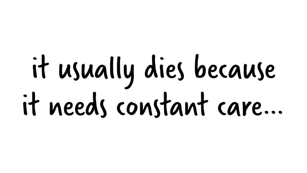 it usually dies because it needs constant care…
