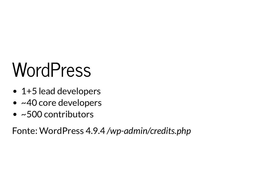 WordPress WordPress 1+5 lead developers ~40 cor...