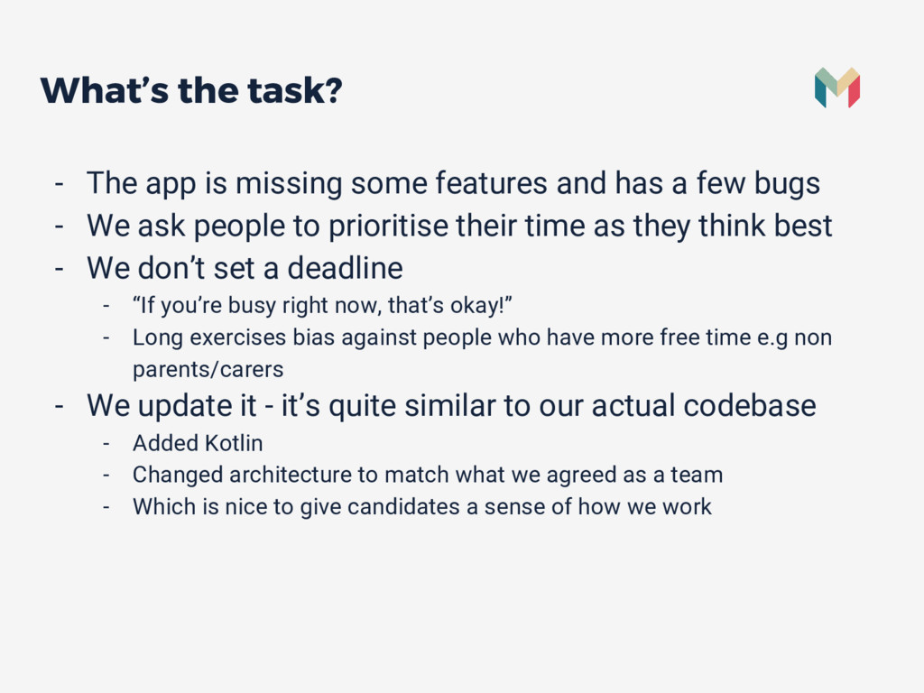 What's the task? - The app is missing some feat...