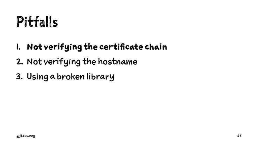 Pitfalls 1. Not verifying the certificate chain...