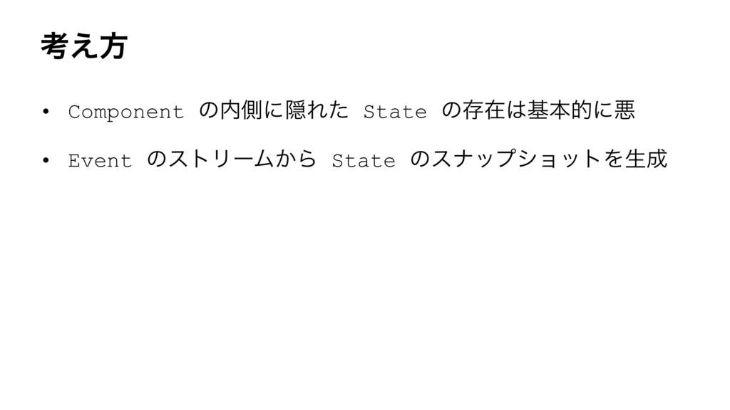ߟ͑ํ • Component ͷଆʹӅΕͨ State ͷଘࡏجຊతʹѱ • Event...