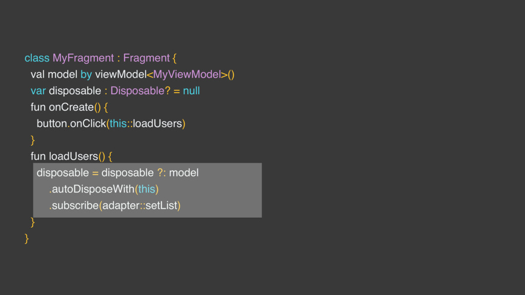 class MyFragment : Fragment { val model by view...