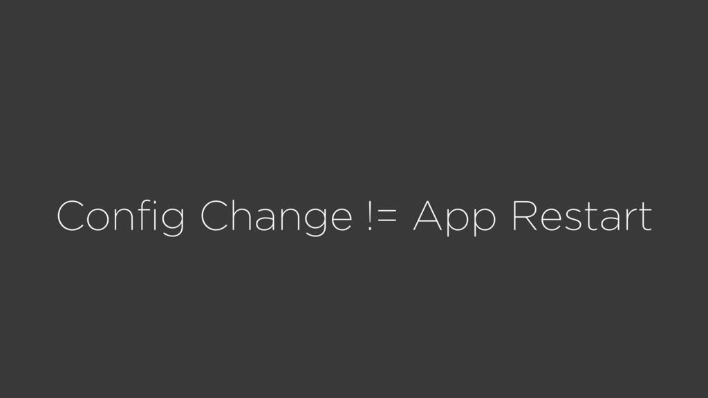 Config Change != App Restart