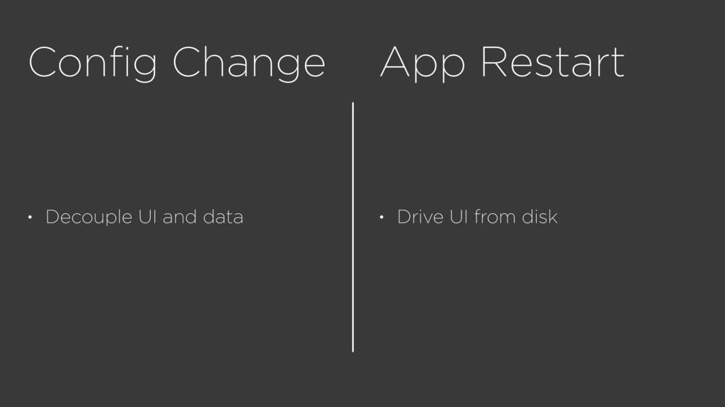 Config Change • Decouple UI and data App Restart...