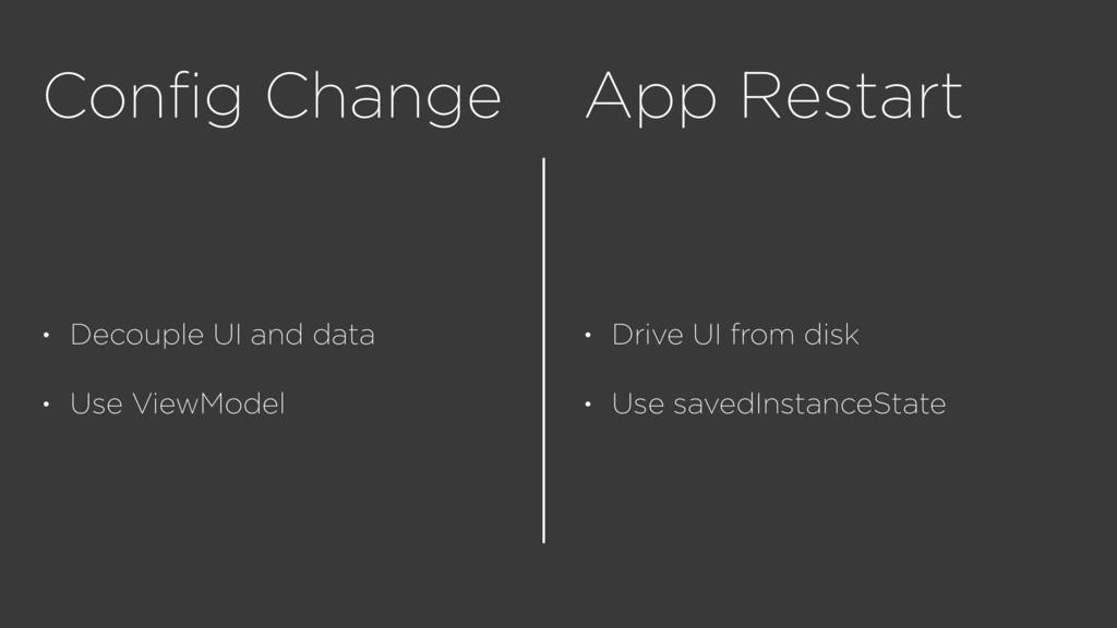 Config Change • Decouple UI and data • Use ViewM...