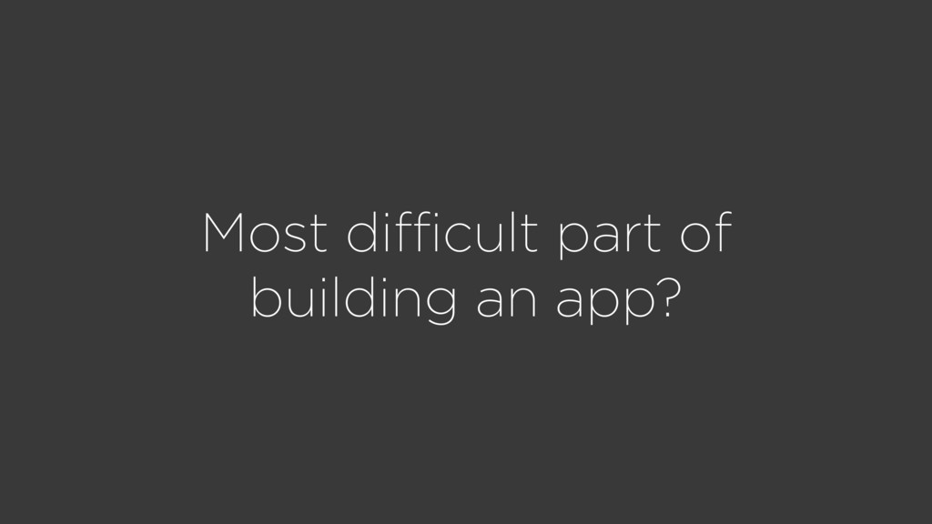 Most difficult part of building an app?