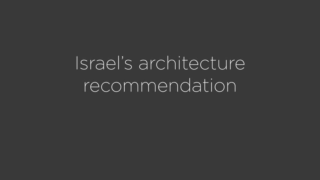 Israel's architecture recommendation