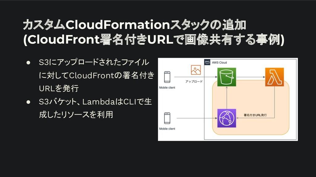 カスタムCloudFormationスタックの追加 (CloudFront署名付きURLで画像...