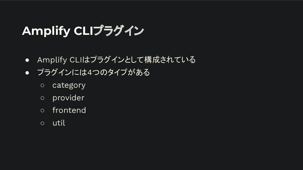 Amplify CLIプラグイン ● Amplify CLIはプラグインとして構成されている ...