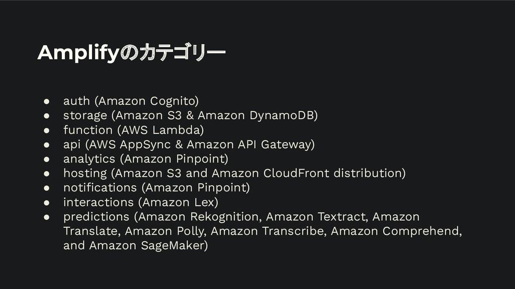 Amplifyのカテゴリー ● auth (Amazon Cognito) ● storage...