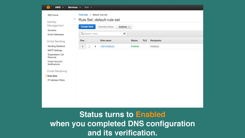 Status turns to Enabled when you completed DNS ...