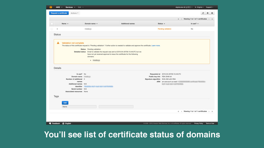 You'll see list of certificate status of domains